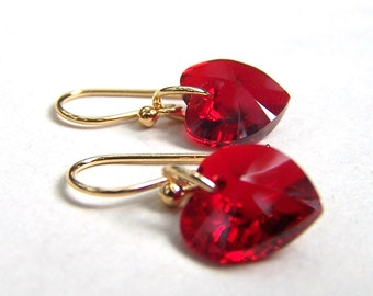 Red Heart Earrings Gold Filled Ear Wires Swarovski Jewelry Red Jewelry Valentines Gift for Her