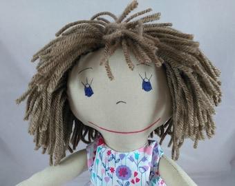 READY TO SHIP  Rag doll, light skin tone, mop of light brown hair, Cloth Doll, Plush Toy, Soft Doll, Fabric Doll, Stuffed Doll