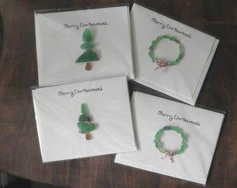Christmas Tree and Wreath Cards Lake Erie Beach Glass set of 4