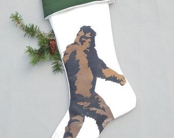 "SASQUATCH BIG FOOT Christmas stocking yeti 24"" indoor-outdoor squatch Bigfoot hand painted legend cryptozoology Crabby Chris"