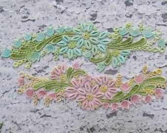 Venise Lace Flower Spray Hand Dyed Trim Embellishment Applique