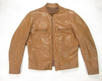 60s/70s Brooks Cafe Racer Jacket Vintage Retro Men's Made in USA Sportswear Caramel Leather Motorcycle Biker Jacket Size Medium