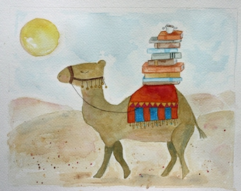 The Book Lover, camel and books, tea, desert, children's nursery art, brown, sand, red, orange, gold, sun camel and blanket, whimsical