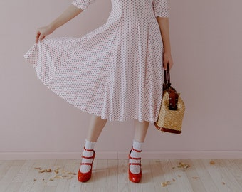 Vintage 50's red polka dot dress