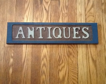 Wood Antiques Sign Vintage Country Rustic Wall Decor