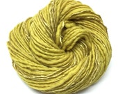 Handspun bulky weight yarn, merino and silk plant dyed with Goldenrod flowers 75 yards and 2.4 ounces/ 68 grams