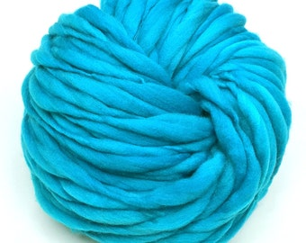 Thick and thin super bulky yarn in hand dyed merino wool - 67 yards and 4.1 ounces/ 116 grams