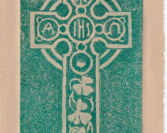 Exquisite Handmade Celtic Cross Etching with Shamrock Accents