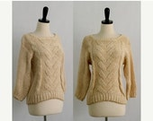 Vintage Winter Sweater Knit Cable Knit Sweater Womens Sweater 1970s Sweater Off White Cream Woven Pullover Sweater Size Small Medium