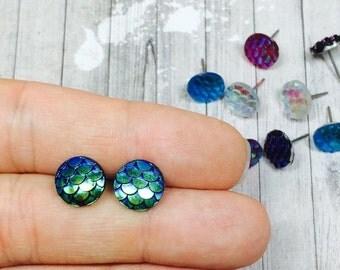 25% OFF SALE Mermaid Tail Earrings, Blue Green Mermaid Earrings, Dragon Scale Earrings, Nautical Stud Earrings, Fantasy Jewelry, Whimsical E