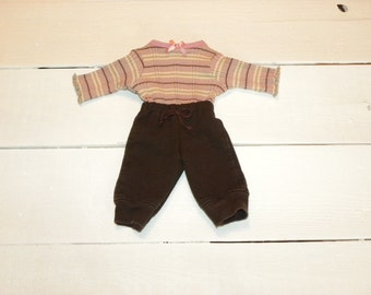 Striped Ribbed Sweater and Brown Pants - 14 - 15 inch doll clothes