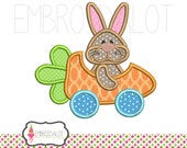 Bunny applique embroidery design. Funny easter bunny with carrot car cute Easter applique. Four sizes of easter embroidery.