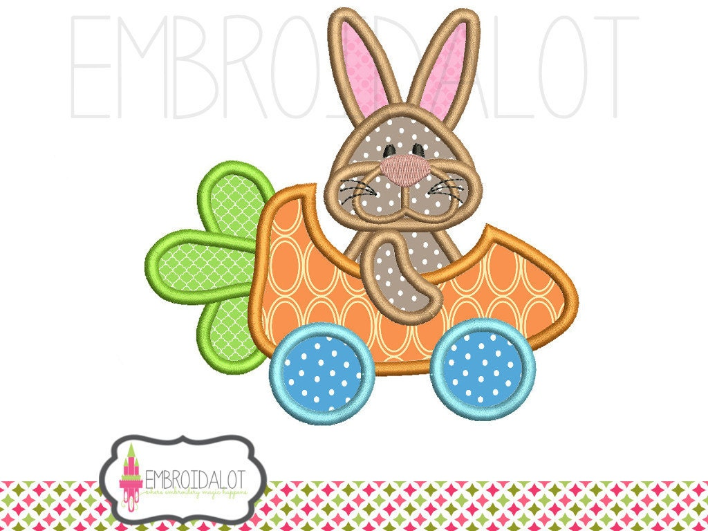 Bunny applique embroidery design funny easter with