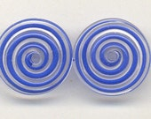 Tom's lampwork clear and light lapis blue swirl 2 disc bead spacer set, 1 pair 96453