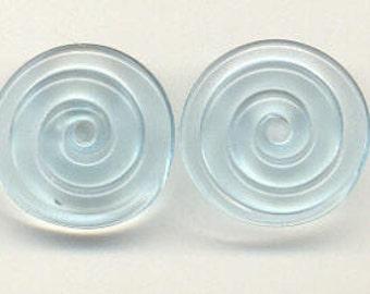 Tom's lampwork transparent frost blue 2 disc spacer/drop set, 1 pair  96256