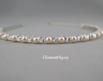 Pearl crystal headband, Wedding hair accessory, Bridesmaid hair do, Silver or gold metal head band, Ivory white blue pearl hair piece