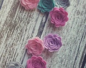 WOOL Felt Flowers-Feathered Tones Collection