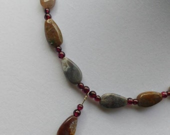Garnet and Fancy Jasper Drop Necklace