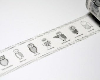 Limited Edition mt Japanese Washi Masking Tape - Owl 25mm for packaging, tag making, scrapbooking