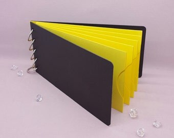 """Yellow Shade, Pocket Tag, Chipboard Album, Size 8-1/4"""" x 4-1/4"""", Scrapbooking, Memory Keeping, Photo Album, Black Covers"""