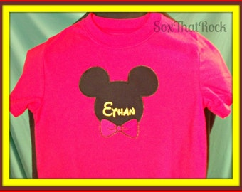 Girls or Boys Personalized Mickey Mouse or Minnie Mouse inspired t-shirt- you pick shirt size, color and bow color - can fit up to 9 letters