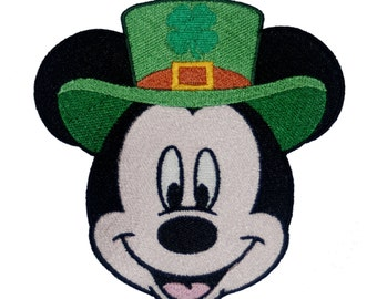 Disney Inspired Irish Mickey Embroidered Patch, perfect for Disney St. Patrick's Day Events