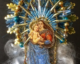 Religious Christmas Topper/Ornament Vintage Look-German Scrap Madonna/Child,Vintage Tinsel Star,German Tinsel,Angel Hair,Vintage Glass Beads
