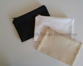 "Makeup * Pouch 5""x8"" Hand made in the USA , Low Ship, Great for HTV Screen printing or Embroidery,  Cute Zipping Cosmetic Bag"