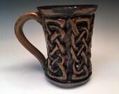 Celtic Knot Mug in Handcarved Stoneware