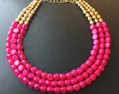 Hot pink and Gold multistrand beaded necklace