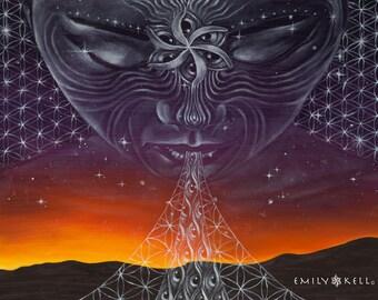 Nightfall- visionary art tapestry by Emily Kell
