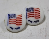 White Glass Buttons 2 American Flag Glass Buttons 1776 to 1976 Glass Buttons