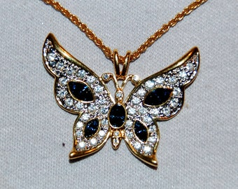 Vintage / Butterfly / Necklace / Clear / Cobalt / Blue / Rhinestone / Sparkle / Bling / old jewelry