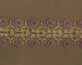 Hand Dyed Venise Lace Cabbage Roses  Vintage Violet Bliss