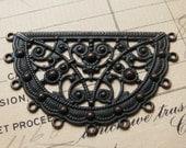 Byzantine semicircle filigree link, black antiqued brass, 50x30mm, black filigree connector, ornate, unique, decorative necklace link, aged