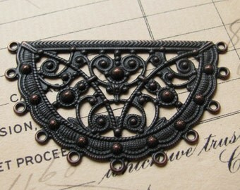 Byzantine semicircle filigree link, black antiqued brass, 50x30mm, black filigree connector, unique, decorative necklace link, Boho charms