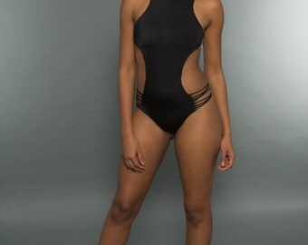 NEW Yaz Shredded Stringy Strappy Monokini in Black