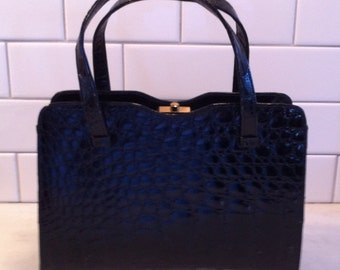Black Vintage Alligator Purse