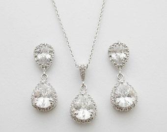 Wedding Jewelry Bridal Jewelry Set Silver Cubic Zirconia Posts Clear Cubic Zirconia Teardrop Earrings Necklace Wedding Earrings