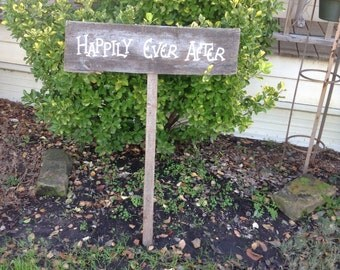 Large Aged Salvaged Wood Wedding Sign on Stake Happily Ever Photo Prop Ready to Ship