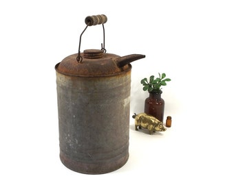 vintage 40s 50s galvanized metal watering can spout decorative home decor mid century modern old antique rust age wear patina wood handle