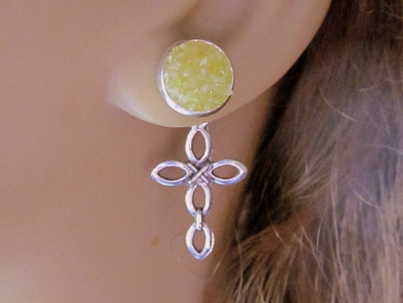 Cross Reverse Earrings, Pale Green Druzy Studs, Silver Crucifix Ear Jackets, Stained Glass Jewelry, Pick Your Color and Charm