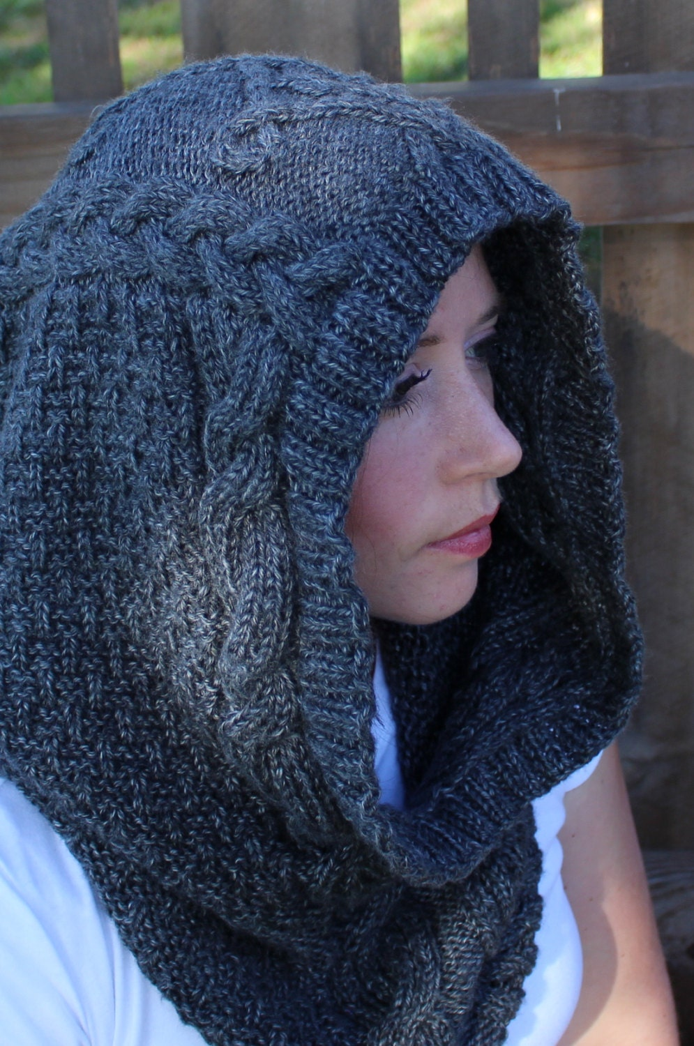 DIGITAL Download, Knit hood, KNITTING PATTERN, Knit cowl ...