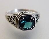 Beautiful Art Deco Style Sterling Filigree London Blue Topaz Ring