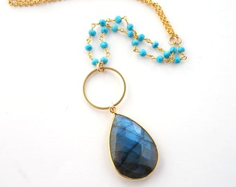 Long Labradorite Pendant Necklace, Long Gold Necklace, Turquoise Beaded Chain Necklace, Gold Gemstone Necklace, Gold Labradorite Necklace