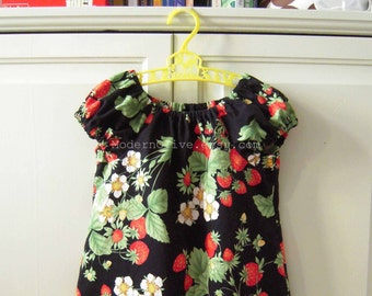 4T Black Strawberry Peasant Dress, In Stock and Ready to Ship
