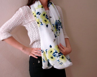 White infinity scarf blue and yellow flower scarf butterfly scarf