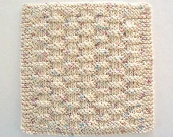 Knit Washcloth, Cotton Dishcloth, Neutral Beige Face Cloth, Basketweave Dishcloth
