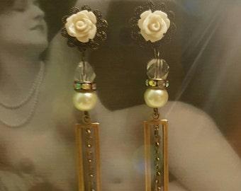 Vintage Assemblage Dangle Plugs Gauges Wedding Prom 10g, 8g, 6g, 4g, 2g, 0g  t397
