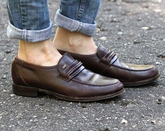 SALE . Vintage Men's Leather LOAFERS . 90s Slip On Brown Moccasins Van Lier Slip-ons 1980s Oldschool Ankle Shoes . Size men US 7.5, Eur 40,